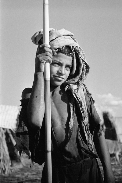 Portrait of a boy, a herder, leaning on a pole, Iraq, 1956 (b/w photo) by Thesiger, Wilfred Patrick (1910-2003); Pitt Rivers Museum, Oxford, UK