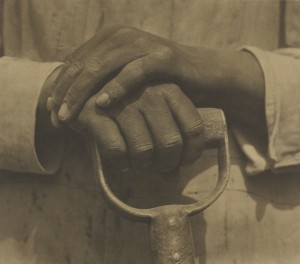 Tina Modotti, photographer (American, born Italy, 1896 - 1942) Hands Resting on Tool, 1927, Palladium print Image: 19.7 x 21.6 cm (7 3/4 x 8 1/2 in.) The J. Paul Getty Museum, Los Angeles