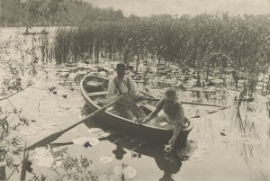 Peter Henry Emerson, photographer (British, born Cuba, 1856 - 1936) Gathering Water-Lilies, 1886, Platinum print Image: 19.8 x 29.2 cm (7 13/16 x 11 1/2 in.) Mount: 28.6 x 40.6 cm (11 1/4 x 16 in.) The J. Paul Getty Museum, Los Angeles
