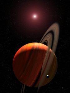 Photo A – Artist's concept of a gas giant planet orbiting a red dwarf K star  Credit:  NASA, ESA, and G. Bacon (STSci)