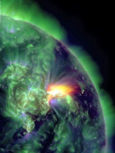 Photo B – Ultra violet photo of a M3.2 solar flare captured by the Solar Dynamics Observatory              Credit: AFP PHOTO / NASA/SDO