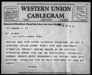 Caption: A Duveen Brothers original London cablegram dated September 29, 1941. © J. Paul Getty Trust.