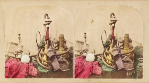 Caption: Paraphernalia and decorative items including a hookah, vase and fabrics. William Morris Grundy; 1857. Ken and Jenny Jacobson Orientalist Photography Collection. © J. Paul Getty Trust.