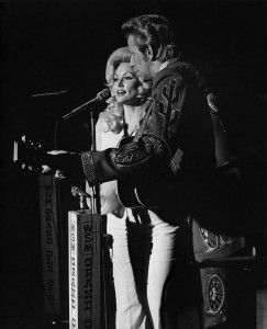 Dolly Parton and Porter Wagoner on Opry, 1974.Les Leverett photograph © Grand Ole Opry, LLC