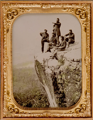 R.M.Linn&Brother, Civil War Soldiers Returning Home, Sightseeing at Point Lookout, Tennessee, tintype(3.25X4.25in.) June, 1885