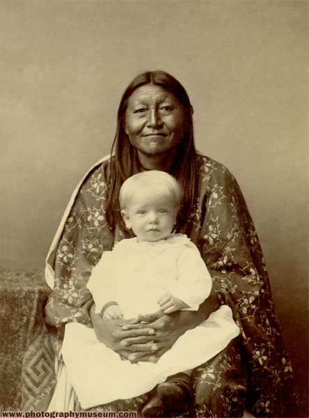 Native American with Blonde Baby, albumen print on cabinet card mount(4.25x6.5in.), after 1885   Daguerre's American Legacy, p. 168; included in MIT Museum exhibition: Also available as a postcard from the MIT Museum bookstore.
