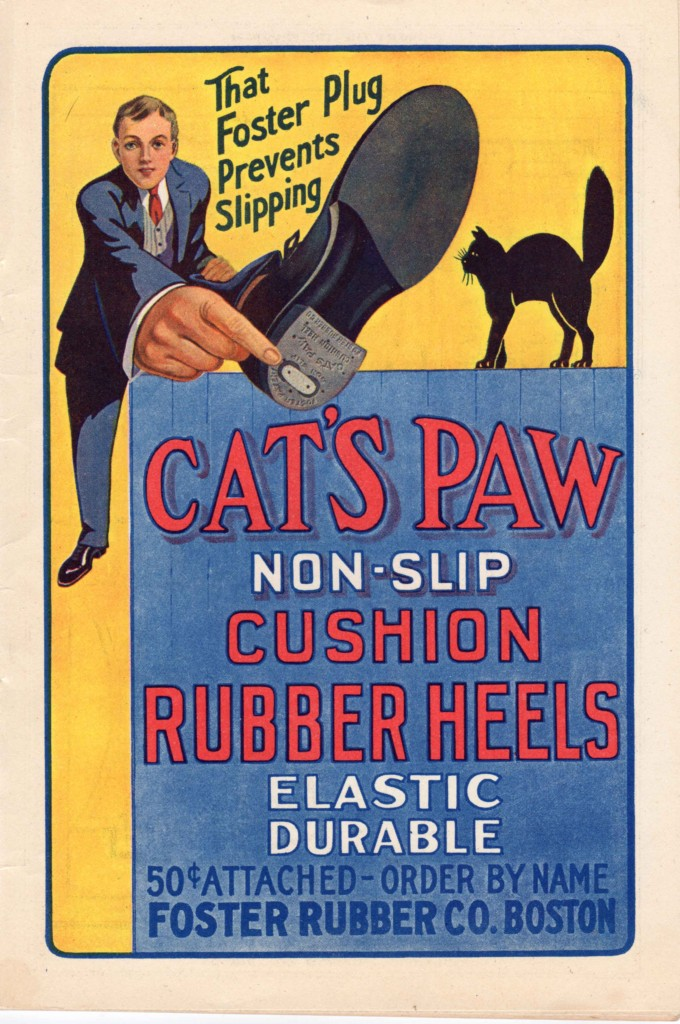 An ad for Cat's Paw rubber heels from a 1916 theatre program.