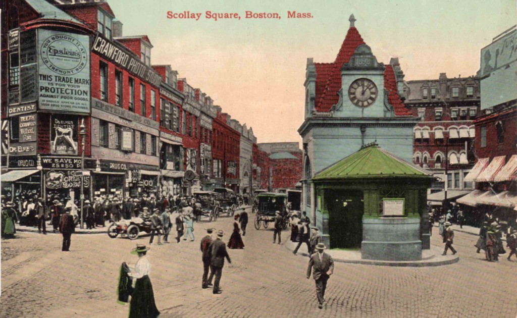 "Boston's notorious Scollay Square, c 1910.  Scollay Square was demolished in 1962, as part of Boston's  ""Urban Renewal"" Program."