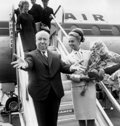 Director Alfred Hitchcock with actress Tippi Hedren arriving at Nice airport for Cannes Film festival, 1963. Credit ©Rue des Archives/AGIP/Bridgeman Images