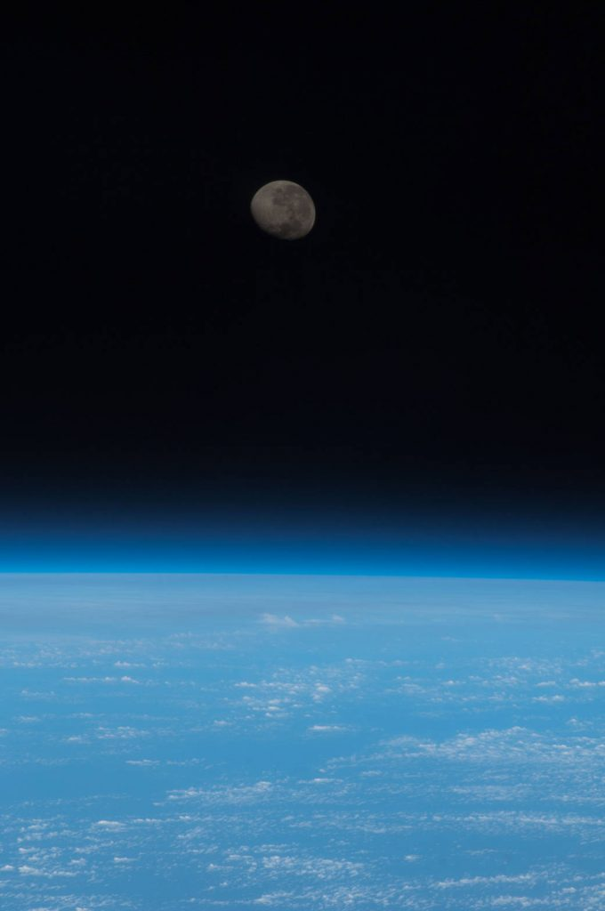 ISS036-E-012464 (26 June 2013) --- One of the Expedition 36 crew members aboard the Earth-orbiting International Space Station captured this image of a waning gibbous moon from a point 225 miles above a position on Earth located near the Equator and the Atlantic coast of northern Africa.