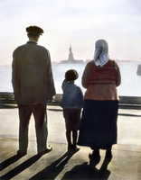 ELLIS ISLAND. Immigrants to the United States at Ellis Island. Oil over a photograph, c1920.